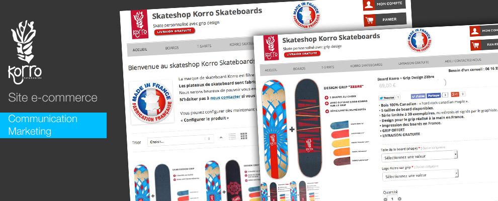 serious team 360 pour Korro Skateboards : création de site internet ecommerce