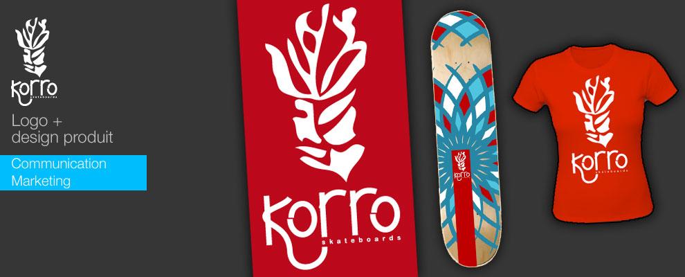 serious team 360 pour Korro Skateboards : création logo, création skateboard, création t-shirts