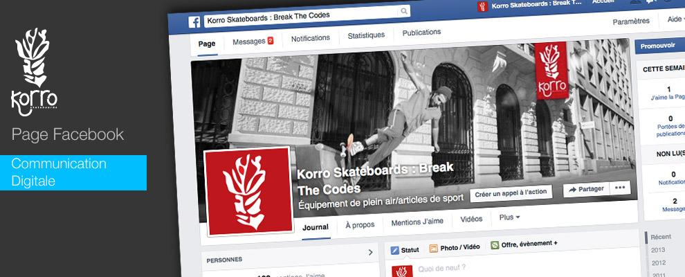 serious team 360 pour Korro Skateboards : création de page Facebook