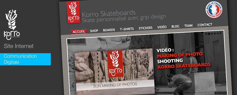 serious team 360 pour Korro Skateboards : création de site internet internet